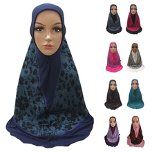 Women Muslim One Piece Amira Hijab Hat Turban Full Cover Headscarf Islamic Arab Caps Head Wrap Printed Bandanas Prayer Hat Cap