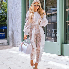 Elegant Celebrity 3D Lace Pleated Jumpsuit 2019 Fashion White Long Sleeve Hollow Out Romper Women Evening Party Ruffled Jumpsuit(China)