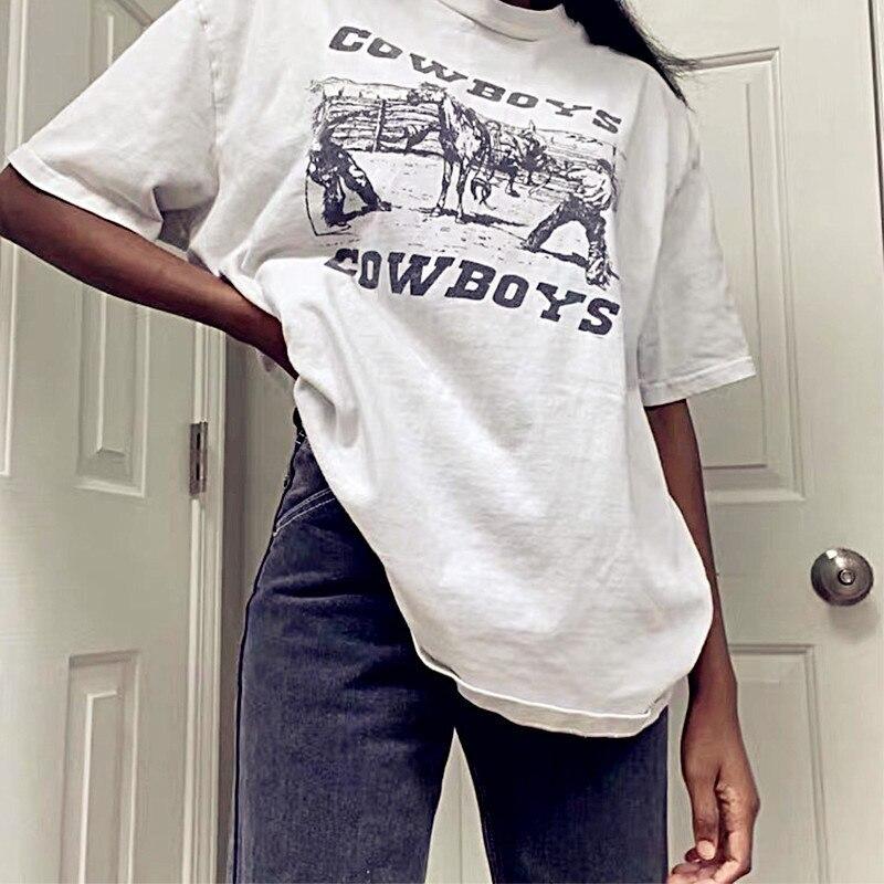 Sunfiz yf 80s 90sアメリカのヴィンテージカウボーイプリント女性のグラフィックtシャツ白綿特大スタイルtシャツインfashoinトップス