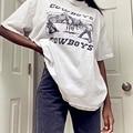 Sunfiz YF 80s 90 Американский Винтаж в ковбойском стиле с рисунком для женщин Графический футболки для девочек белая хлопковая свободная Стиль фу...