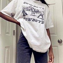 Sunfiz YF 80s 90s amerikan Vintage kovboy baskılı kadın grafik Tees beyaz pamuk boy stil T Shirt Ins moda üstleri