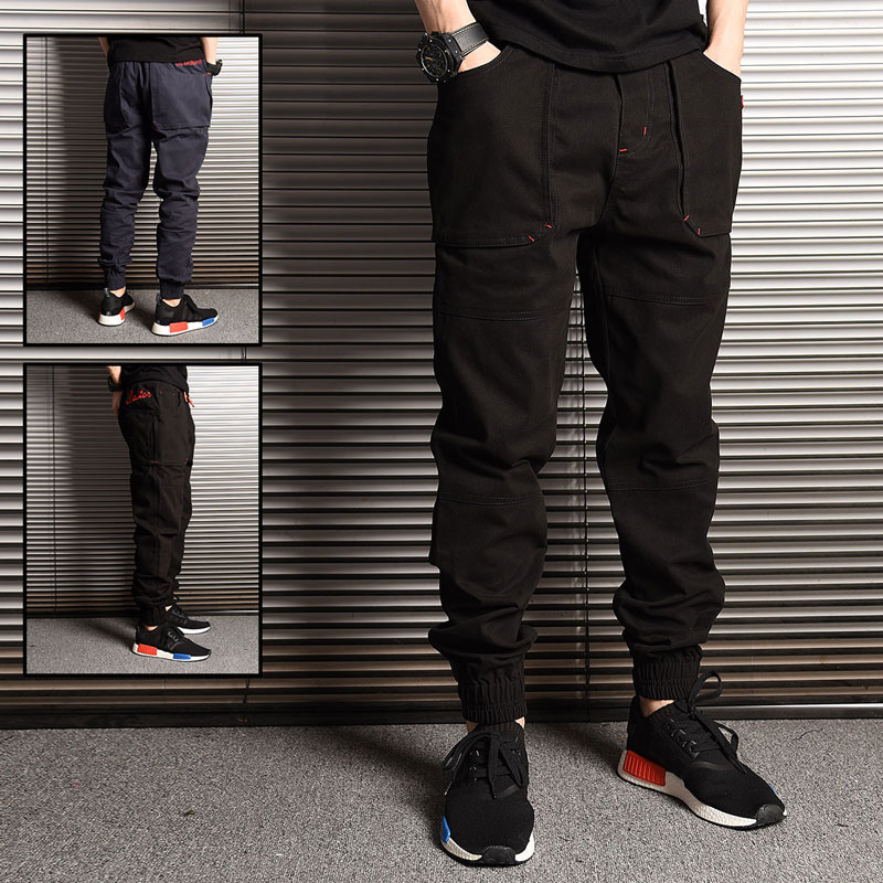 Fashion Streetwear Men Jeans Loose Fit Black Green Gray Color Loose Fit Spliced Designer Cargo Pants Hip Hop Joggers Pants Men