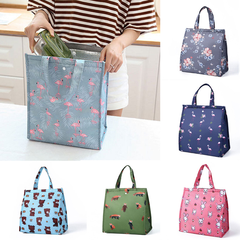 Hot 6 Colors Cooler Insulated Canvas Picnic Lunch Bag Box For Unisex Thermal Food