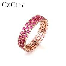 CZCITY, настоящее 925 пробы, серебряное кольцо вечности для женщин, обручальное, свадебное, хорошее ювелирное изделие, круглый топаз, драгоценный камень, Anillos SR0299