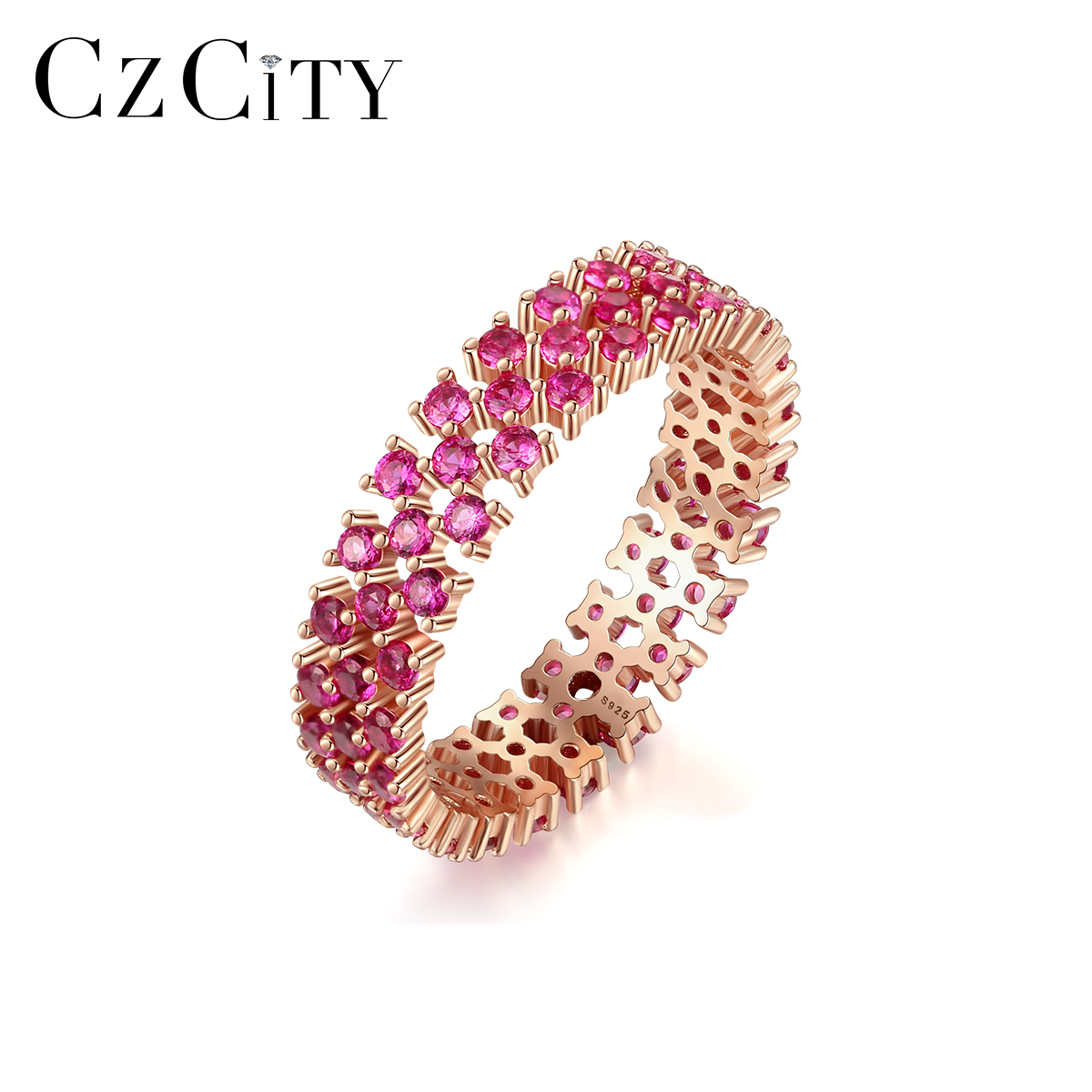 CZCITY Genuine 925 Sterling Silver Eternity Rings For Women Engagement Wedding Fine Jewelry Round Topaz Gemstone Anillos SR0299