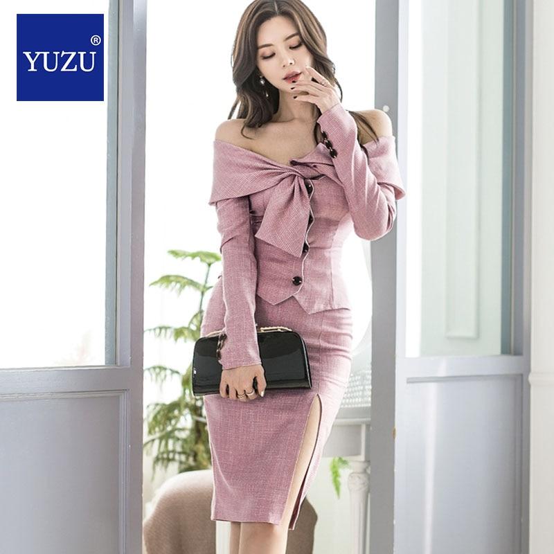 Jupe ensemble 2 pièces ensemble rose Sexy hauts épaules nues nœud laçage simple boutonnage à manches longues moulante jupe crayon tenues élégantes