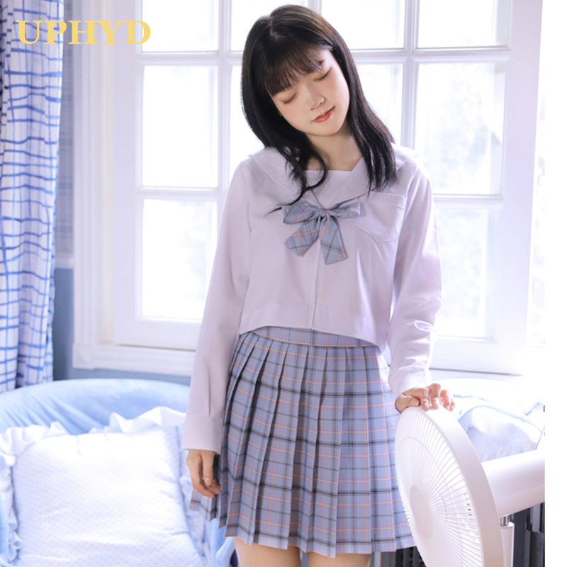 Cute Girls Korean School Uniform Cosplay Costumes JK Uniforms Long Sleeve Shirt Plaid Skirt Sailor Suits XXL