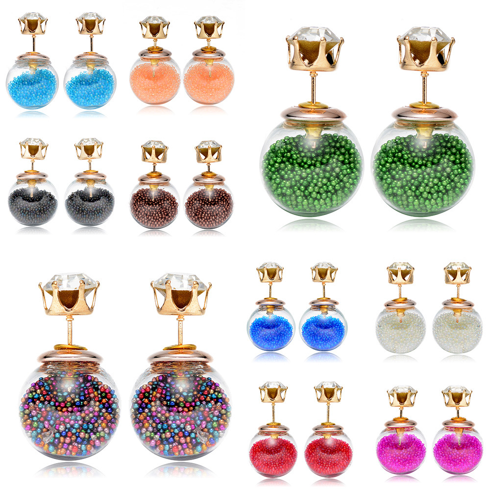 2020 Fashion Crystal Glass Ball Quicksand Earrings Stud For Women Charm Jewelry Beach Style