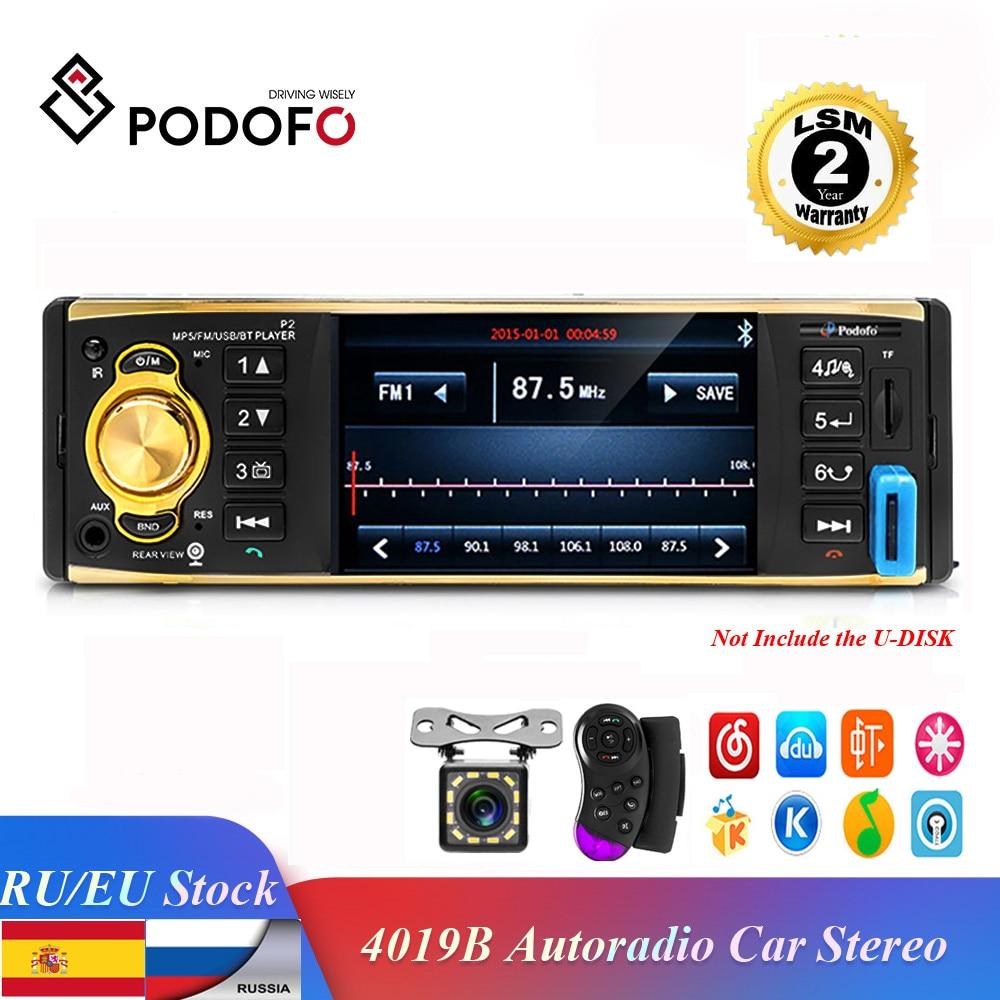 Podofo Autoradio 4019B 1 din Car Radio Audio Stereo Player FM Bluetooth Rear View Camera usb aux Steering Wheel Remote Control
