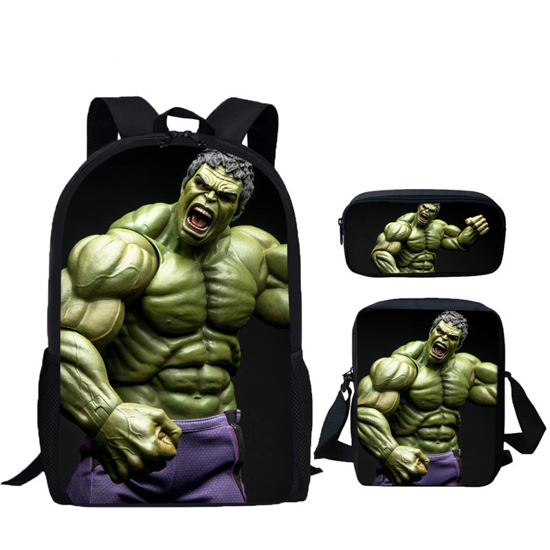 School Bags Hulk Avengers 3D Print 3pcs/Set School Backpacks Children Girls Boys Cool Capacity Schoolbag Bookbags|School Bags| |  - title=