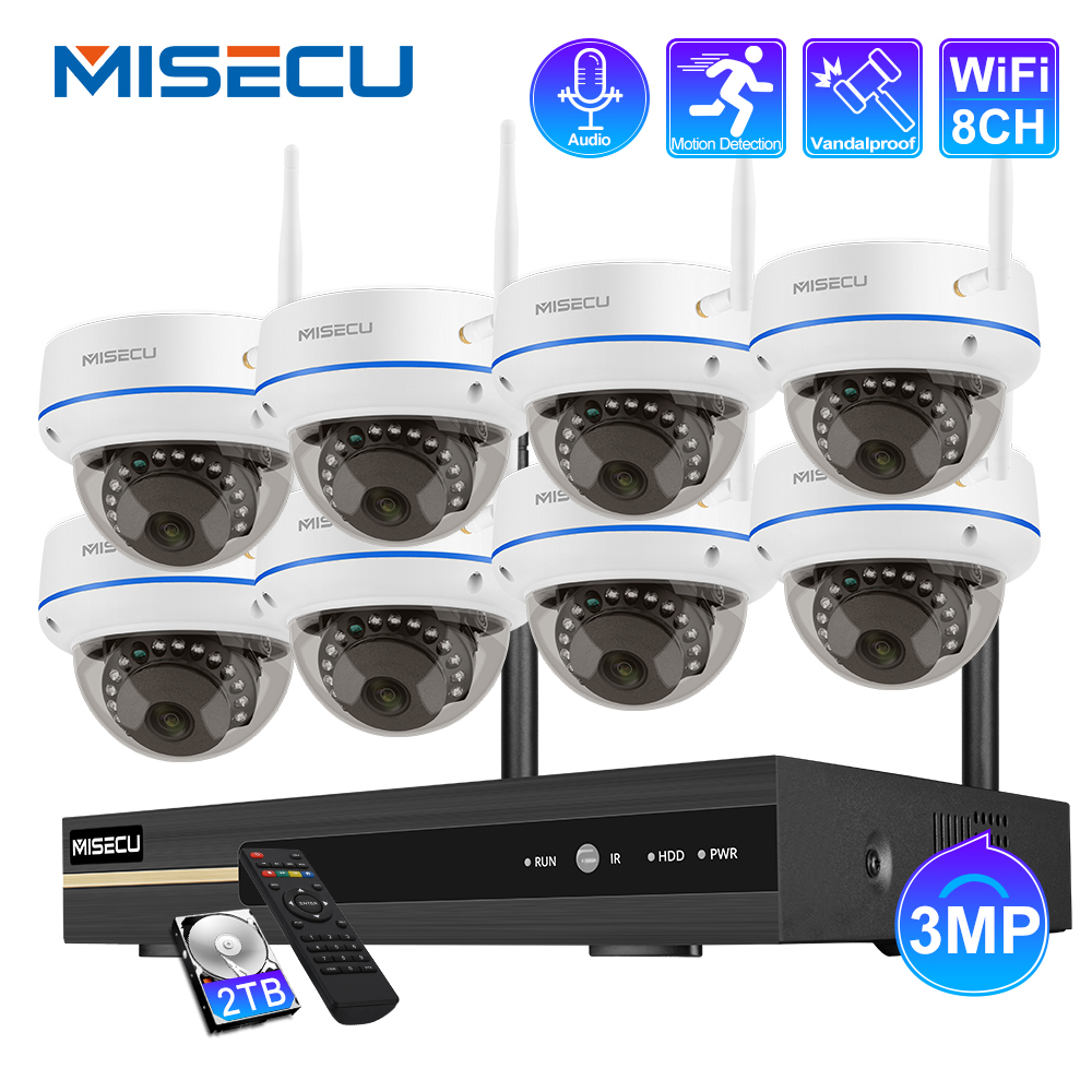MISECU Wireless CCTV System 3MP NVR Indoor Vandalproof Wifi Camera Audio Record IR-CUT CCTV Camera IP Security Surveillance Kit