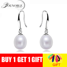 Real natural pearl earrings for women 925 silver white freshwater pearl drop earring