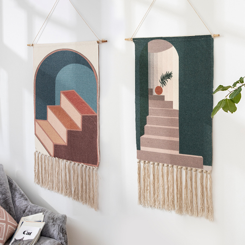 Nordic Art hanging cloth New Hand-knitted tassel tapestry Wall Hanging Handmade bohemian style Retro Home Decor cotton