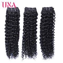 UNA Brazilian Curly Human Hair 3 Pieces Deal Remy Hair Bundles Color #1B From 8 Inches To 28 Inches цена