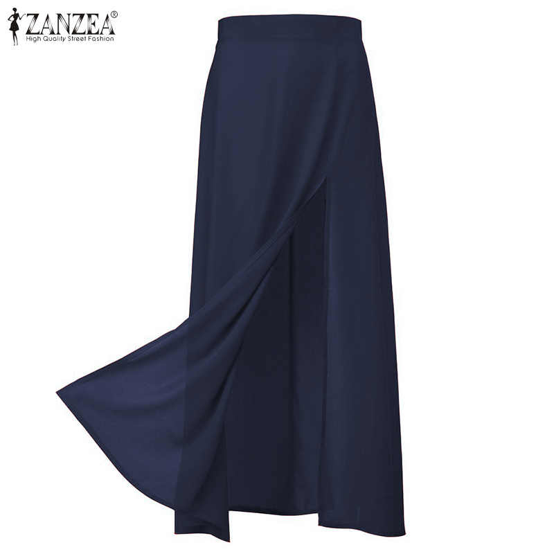 Zanzea 2020 Vrouwen Sexy Hoge Split Rokken Dames Solid Maxi Rokken Casual Back Zipper Faldas Mujer Elegante Lange Rok plus Size