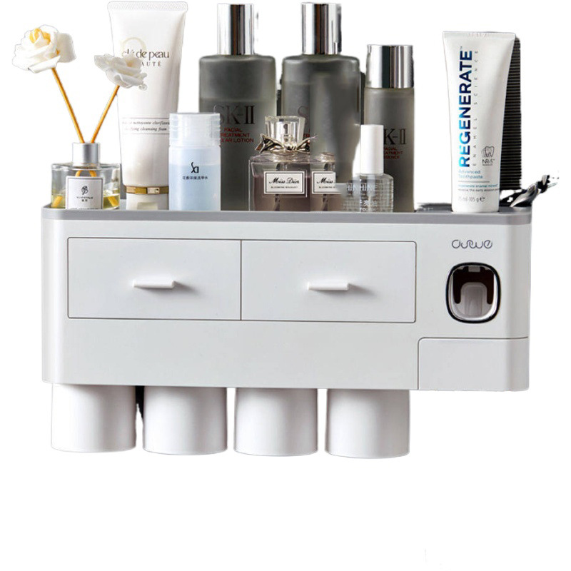 Titular escova de dentes dispensador automático com copo montagem na parede acessórios do banheiro rack armazenamento