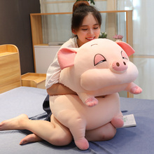 Super Soft Pink Sleepy Pig Stuffed Pillow with Flannel Blanket High quality Plush toys Hamster Mouse Throw Pillow Bed Cushion