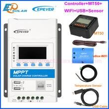 40a 30a 20a 10a trimon modular mppt controlador de carga solar epever 12v/24vdc carregador regulador com usb duplo e preto-iluminação