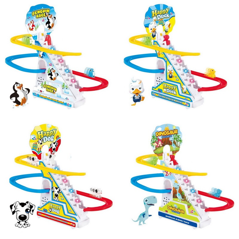 Climbing Stairs Track Toys Cartoon Train Pig Penguin Dinosaur Dog Duck For Children Electronic Music Kids Funny Birthday Gift