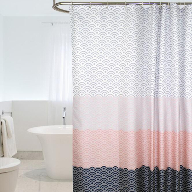 Nordic Shower Curtain Geometric Color Block Bath Curtains Bathroom For Bathtub Bathing Cover Extra Large Wide Hooks