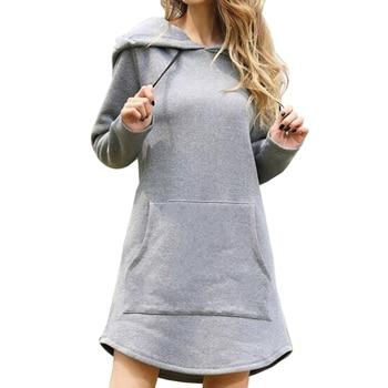 Vestido de manga larga con capucha para mujer, vestido Retro de talla...