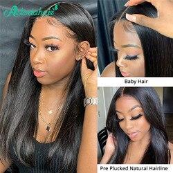 Asteria-pelucas de cabello humano liso para mujeres negras, 13x4, encaje brasileño preenchufado, densidad del 150, Remy