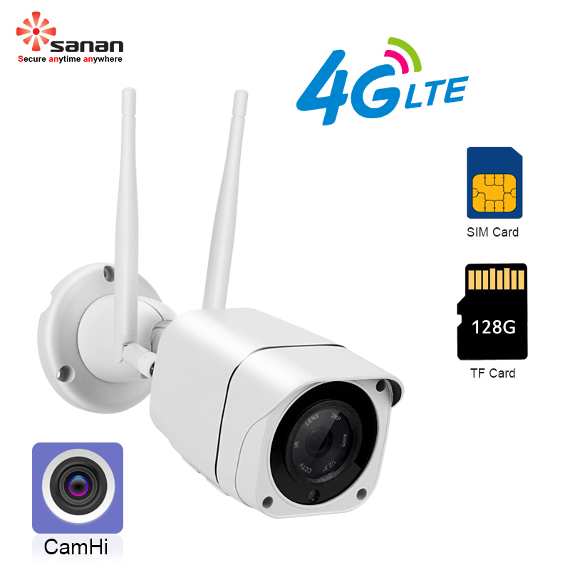 SANAN Outdoor IP Camera 5MP 2MP Waterproof CCTV Camera With GSM 4G SIM Card IR 25M Night Vision Wireless Security Camera Camhi-in Surveillance Cameras from Security & Protection