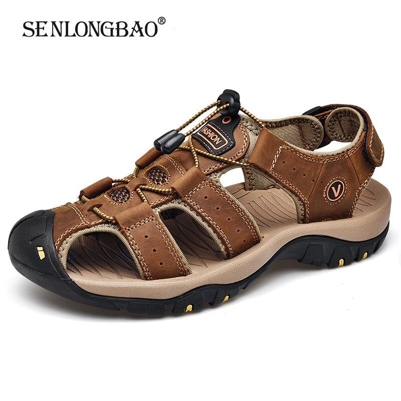 Brand New Summer Men Shoes Genuine Leather Men Sandals Fashion Men Beach Sandals Men Outdoor Casual Sneakers Big Size 38-48