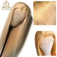 Прямой блонд 613 полный парик шнурка человеческих волос парики для женщин бразильские предварительно выщипанные HD полный парик шнурка человеческих волос NaBeauty 150