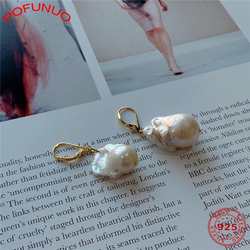 POFUNUO Irregular Baroque Pearl Drop Earrings for Women 925 Sterling Silver Nordic Style Earrings Female Eleagnt Luxury Jewelry