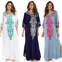 Tunique de plage en coton brodé, Cover up pour les maillots de bain pour femmes, Kaftan, Sarong, vêtements pour la plage # Q775