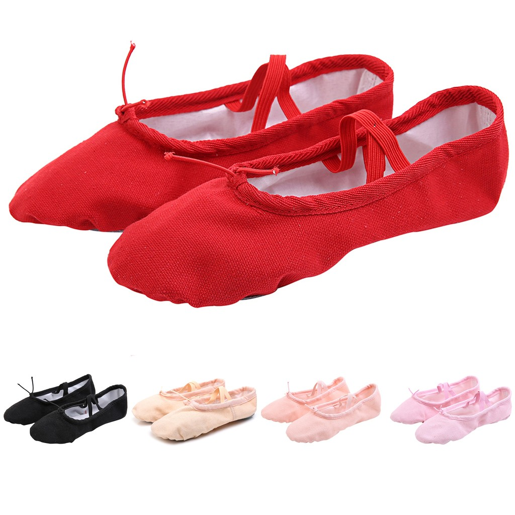 2019 New Girls Ballet Elastic Band Dance Shoes Solid Canvas Gymnastics Flats Split Sole Shoes Casual Sapato Infantil Kids Shoes