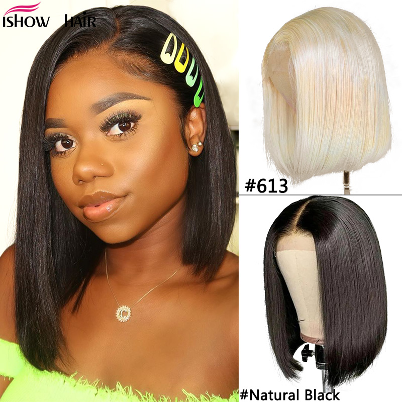 Ishow Blonde Bob Lace Front Wigs 13x4 Bob Wig Lace Front Human Hair Wig Remy Brazilian Straight 613 Lace Front Wig Pre Plucked