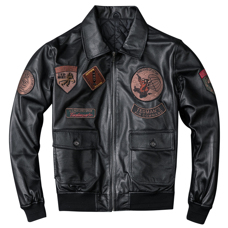 2019 Men's G1 Air Force Pilot Leather Jackets Genuine Sheepskin Leather Jackets Plus Size 5XL Thick Winter Coat for Male