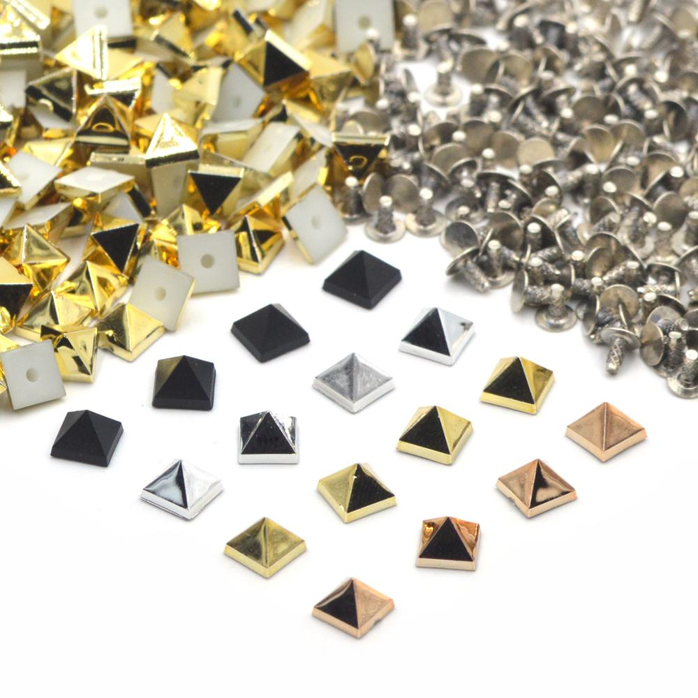 KALASO 100Sets Silver Black Rosegold Gold Plated Acrylic Pyramid Square Punk Studs Rivets Spikes for Shoes Bag Garment Decor 6mm