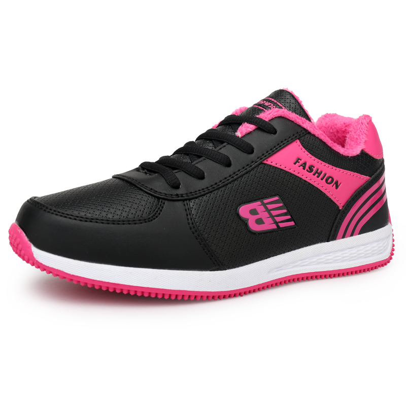 Tenis Feminino Tennis Shoes For Women Black Leather Sneakers Winter Plush Woman Sports Shoes Platform Sneakers Zapatos De Mujer image