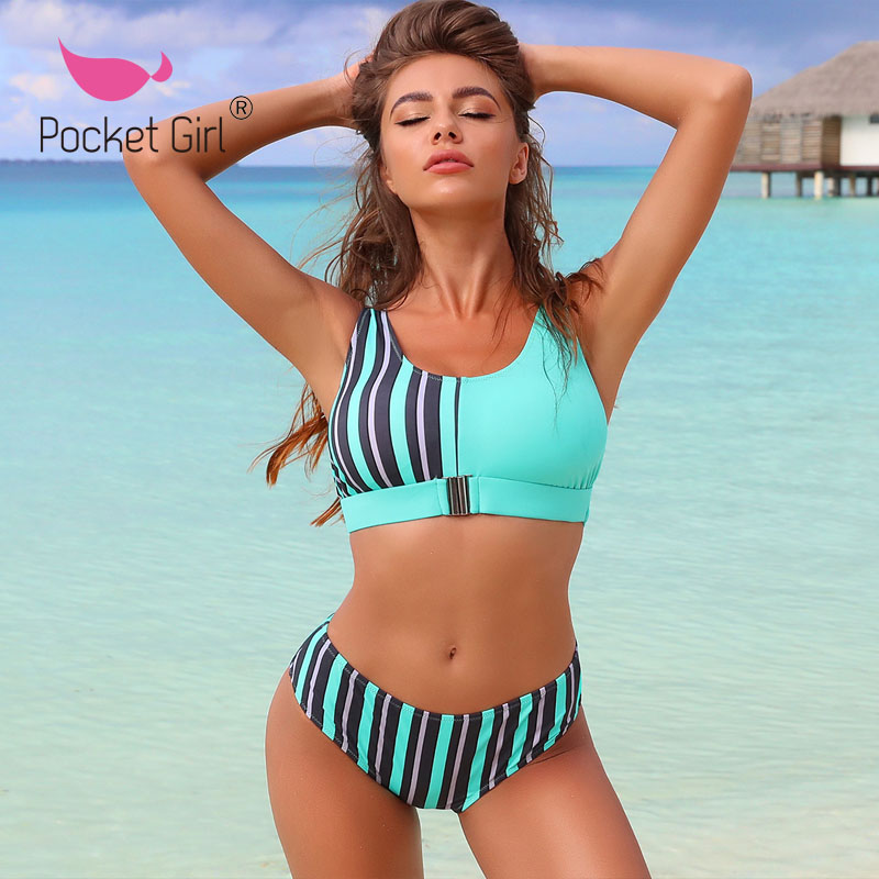Pocket Girl 2020 Women Beach Volleyball <font><b>Bikinis</b></font> Sets Summer Tankini <font><b>Sexy</b></font> Swimwear Female <font><b>Push</b></font> <font><b>Up</b></font> Padded <font><b>Bikini</b></font> Sling Swimsuits image