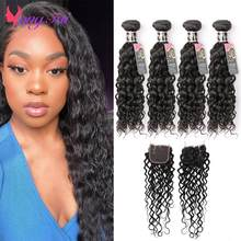 YuYongtai Indian Water Wave 4 Bundles With Closure Deep Wave Human Hair Weave 4x4 Lace Closure Natural Curly Hair Non-Remy Hair