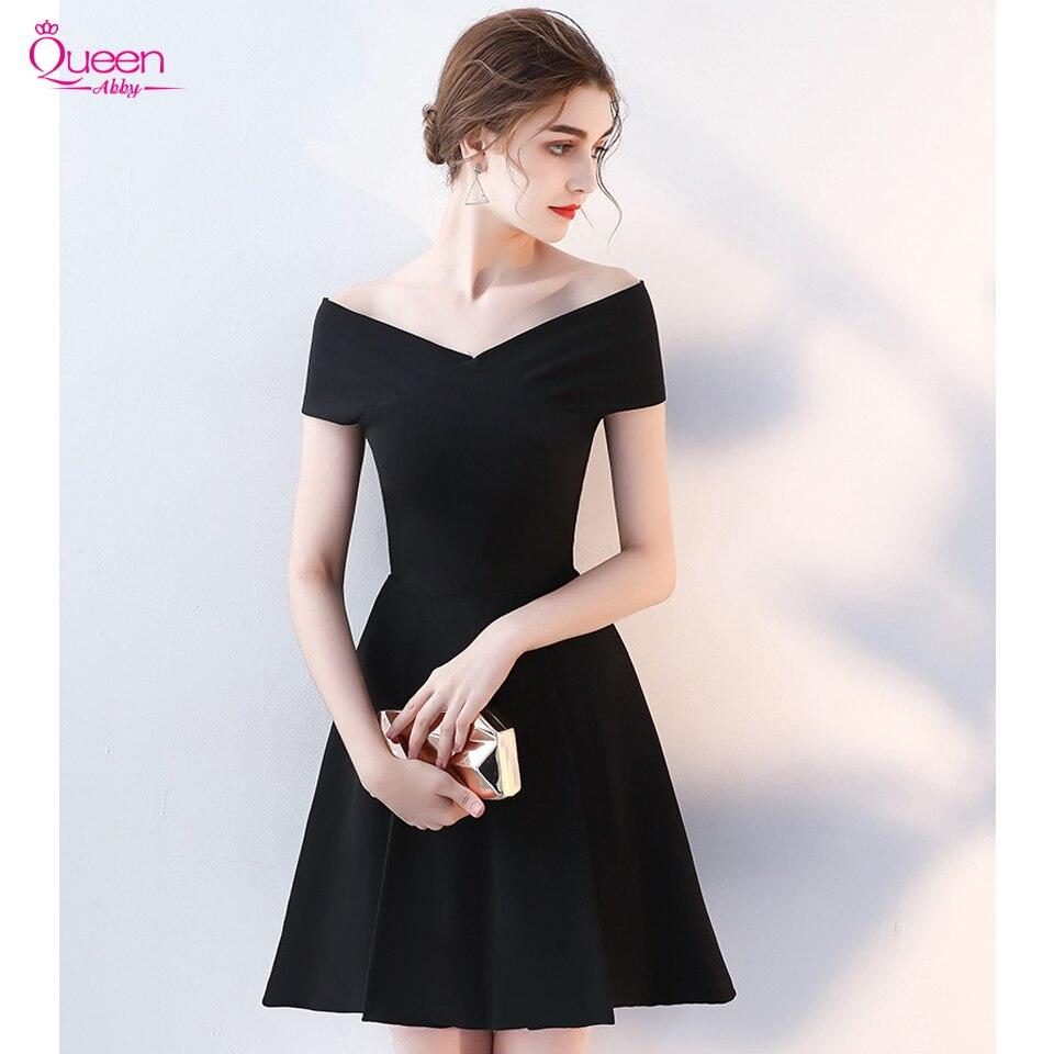 Evening Dresses Prom Dresses Black Dress Backless A-line Knee-Length V-neck Wedding Guest Party Dresses