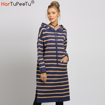 vertical striped 3 4 sleeve pocket day dress Hooded Sweater Dress Women Striped Knit Sweaters 2020 Autumn Winter Side Split Lace-up Long Sleeve Pocket Colour Block Plus Size