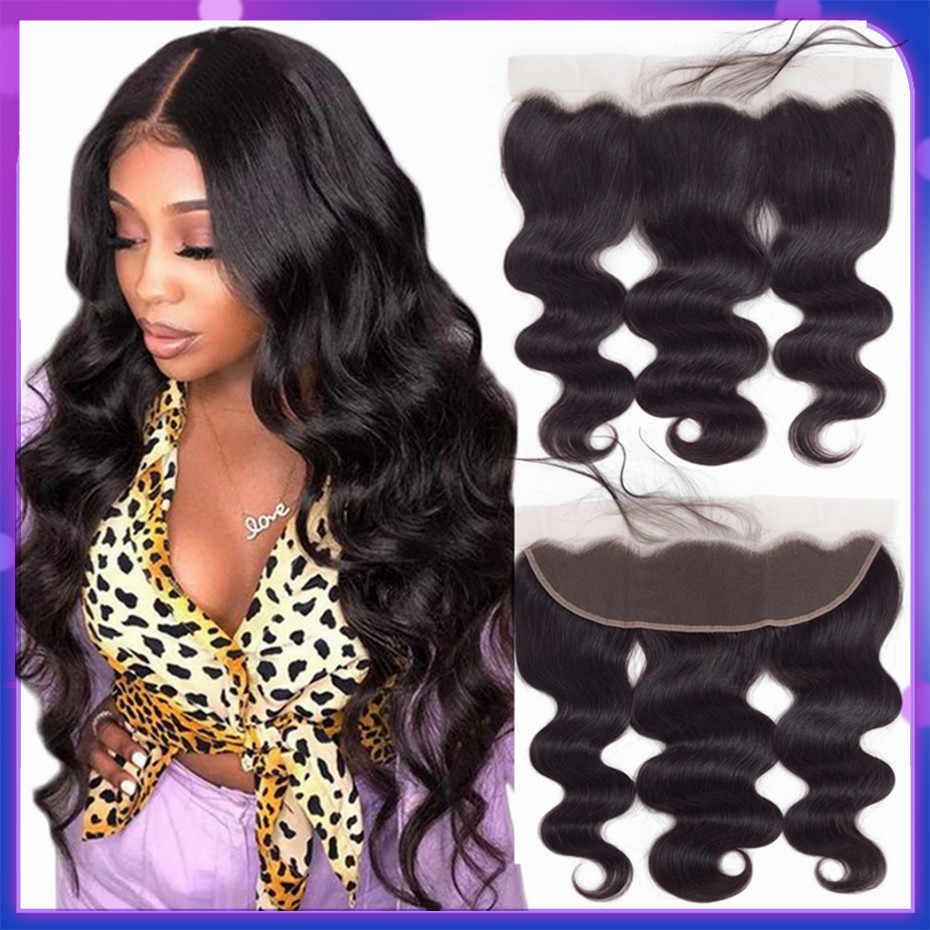 Bling Hair Body Wave 13x4 Lace Frontal Human Hair Closure with Baby Hair 13x6 Free Part Brazilian Remy Swiss Lace Natural Color