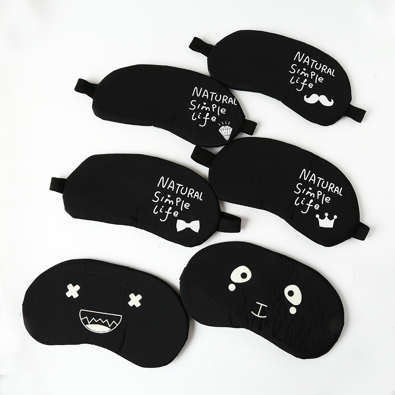Manufacturers Wholesale Night Light Sleep Eye Patch Black And White With Pattern Cute Cartoon Eyeshade Cold-hot Compress Ice Pac