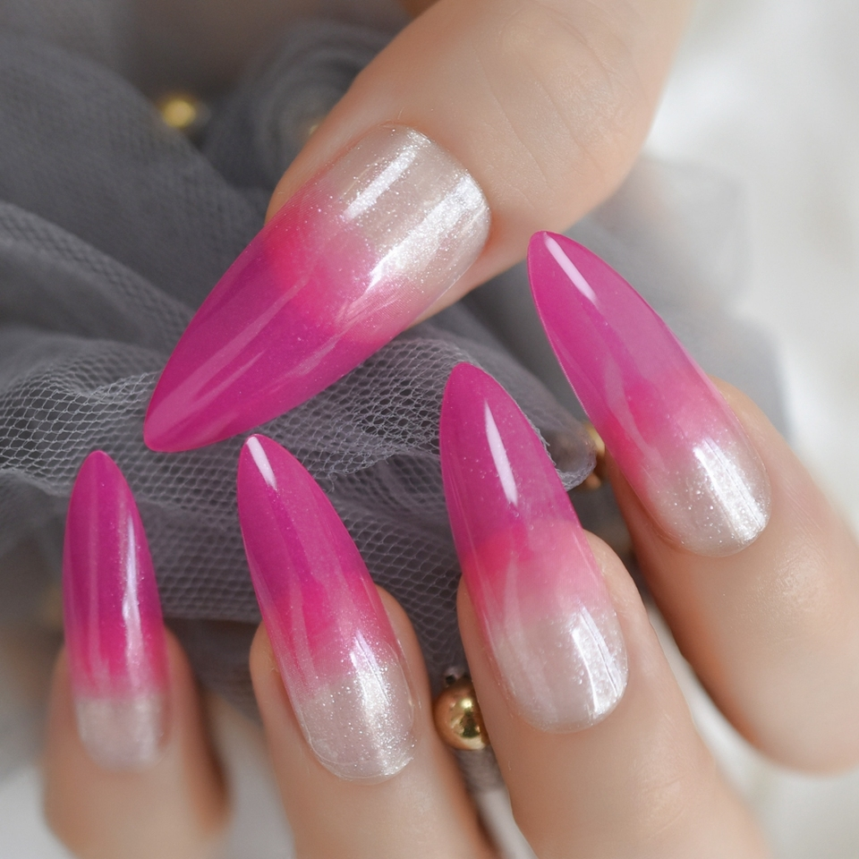 Bright Pink Ombre French Nail Extra Long Stiletto False Nails