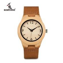 BOBO BIRD Handmade bambusowy damski drewniany zegarek z prawdziwej skóry часы женские zegarek dla pary walentynki prezent парные часы