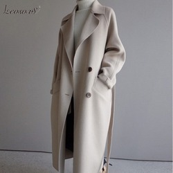 Inverno bege elegante mistura de lã feminina coreano moda preto longo casacos de lã minimalista do vintage casaco camelo oversize outwear