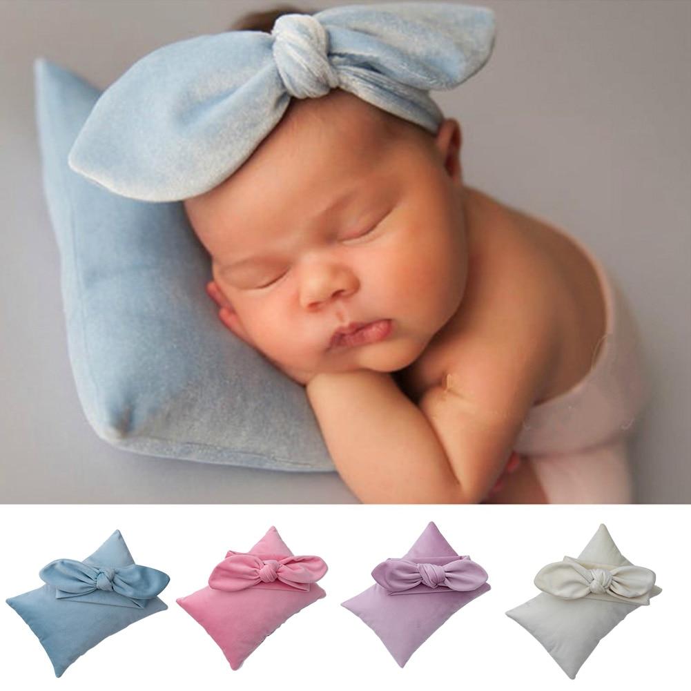 Baby Photo Prop Set Pillow Accessories Newborn Velvet DIY Baby Photo Prop Set Cute Knot Bow Headband New Baby Photo Props