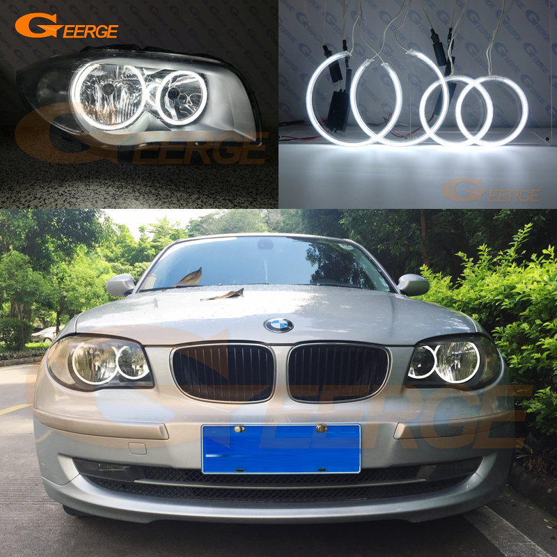 For BMW 1 Series E81 E82 E87 E88 Halogen Headlight Excellent Illumination CCFL Angel Eyes Kit Halo Ring DRL Day Light