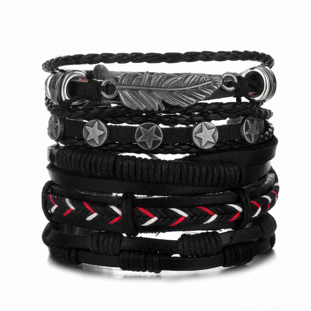 Vintage Leaf Feather Multilayer Leather Bracelets for Women Men Fashion Braided Charms Star Rope Wrap Bracelet Set Male Gift
