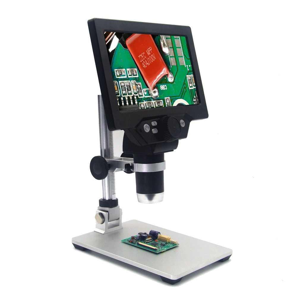 Mustool g1200 microscópio digital 12mp 7 Polegada grande tela colorida grande base display lcd 1-1200x amplificação contínua lupa
