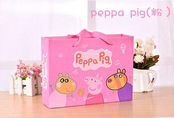 Cartoon Peppa Pig Gift Bag Packaging Environmental Protection Paper Bags Birthday Return Tote Bag Blue Pink Optional optional drone bag